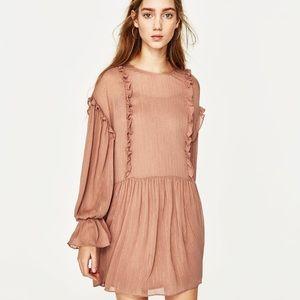 Zara Flowing Shiny Ruffles Frilled Shift Dress